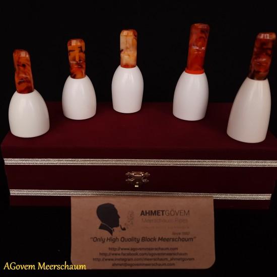 Handmade Meerschaum Cigar Holder Set, Cigar Tip, Cigar Mouthpiece AGM-247