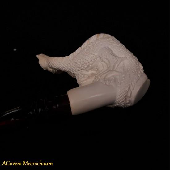 AMAZON WOMAN w DRAGON Block Meerschaum Pipe AGV-V4